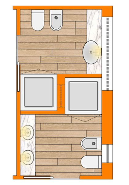 Bagno lungo e stretto wevux scuola di interni soluzioni corridoio 03 wevux - Progetto bagno lungo e stretto ...