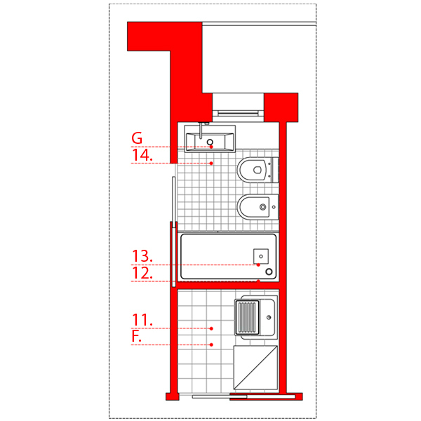 Bagno lungo e stretto wevux scuola di interni soluzioni corridoio 04 wevux - Progetto bagno lungo e stretto ...
