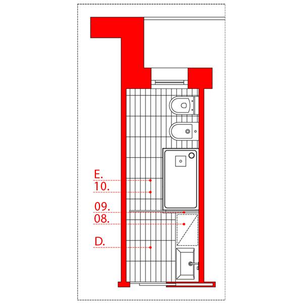 Bagno lungo e stretto wevux scuola di interni soluzioni corridoio 05 wevux - Progetto bagno lungo e stretto ...